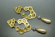 Vintage Valentino large Haute Couture gold-plated faux pearl drop earrings