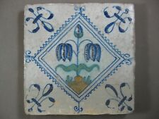 Polychrome Antique Dutch tile flower in jagged rue tulip 17th - free shipping