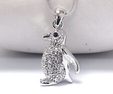 "NEW CRYSTAL PENGUIN PENDANT NECKLACE WHITE GOLD PLATED W/ 18"" CHAIN"