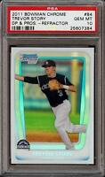 Rare 2011 Bowman Chrome Trevor Story Rookie RC Draft Picks DPP Refractor PSA 10