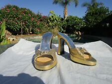 Sexy high platform heels shoes size 6 1/2 gold leather rhinestone detail Spain