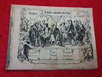 Livre 1890 Etudes J.CAROT/ALBUM DES GRANDS MAITRES/sans reliure/De Vinci,Rubens