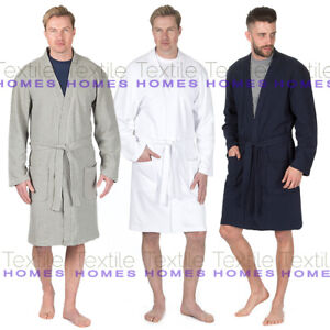 Mens Spa Waffle Bath Robe Lightweight Summer Hotel Cotton Blend Dressing Gown