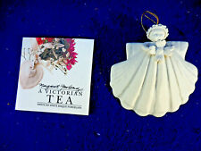 "1997 Margaret Furlong Nib Angel Sea Shell Bisque Porcelain 3"" With Daisy"