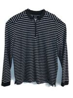 Nautica Mens Large Quarter Zip Pullover Striped Embroidered Gray Long Sleeve EUC