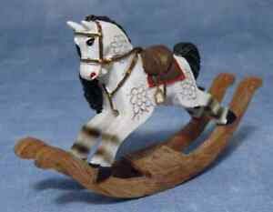DOLLS HOUSE 1/12TH SCALE  PAINTED RESIN ROCKING HORSE