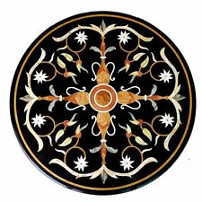 """24"""" Black Marble Corner Side Coffee Table Top Marquetry Mosaic Inlay Stone Work"""