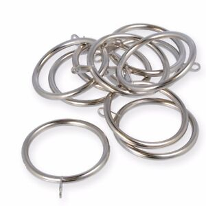 20x LARGE CHROME CURTAIN ROD EYELET RINGS 50mm x 60mm Pole Fixed Eye Silver