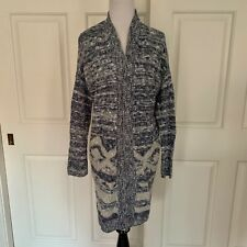 HOLLISTER LONG OPEN CARDIGAN NAVY BLUE IVORY AZTEC XS / S SMALL TUNIC DUSTER