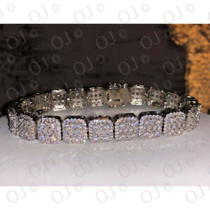 "5 Ct Round Simulated Diamond Men's Cluster Tennis Bracelet 8.5"" Inch Silver 10mm"