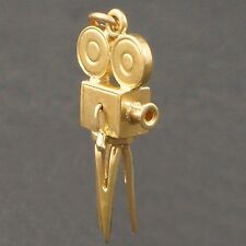 14K Yellow Gold 3D Motion Picture Camera Estate Charm, Pendant
