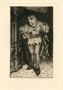 "William Merritt Chase original etching ""The Court Jester"""