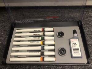 Koh-i-Noor Rapidograph Technical Drawing Pens 7 Pen Set - NEW But 1 Bent/Broken