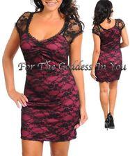 D75 SEXY FUCHSIA & BLACK LACE COCKTAIL DRESS WOMENS SIZE L 10/12
