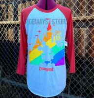 DISNEYLAND GAY DAYS 2018 RAGLAN Sz: M  L disney rainbow baseball tee LGBTQ rare