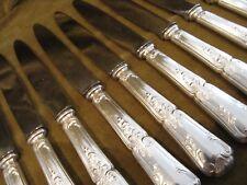 12 couteaux de table métal argenté rocaille Platil (dinner knives)