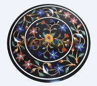 "16"" Black Marble Coffee Table Top Lapis Carnelian Floral Inlay Garden Decor B718"
