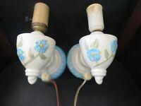 Vintage pair ceramic porcelain wall light sconce fixtures blue floral  (W3)