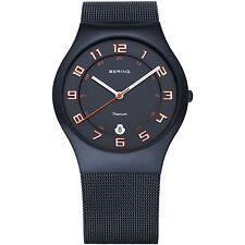 Brand New Bering Men's Blue Mesh Strap Titanium Black Dial Watch 11937-393