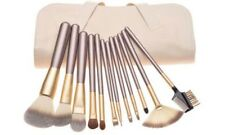 Pro 12pc Champagne Face Eye Brow Lip Contour MakeUp Brushes Set In White Pouch