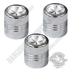 3 Chrome Billet Aluminum Swarovski® Clear Diamond Wheel Valve Stem Dust Caps