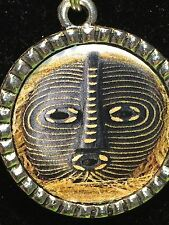 "Tribal Indian African Mask Stripes Charm Tibetan Silver with 18"" Necklace AM15"