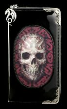 Geldbörse Geldbeutel Portemonnaie Purse Karo Pink Rosa Lila Totenkopf Lady Skull