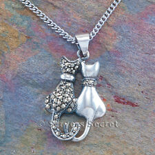 Necklace Pendant Pair Kittens Marcasite cz 925 Sterling Silver Kitty Cat charm