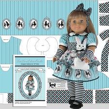 "18"" Doll Clothes Kit Alice Costume + White Rabbit American Made Doll Panel Kit"