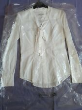 Womens Austin Reed White Spotted Tie Front Long Sleeved Shirt Blouse Size 6