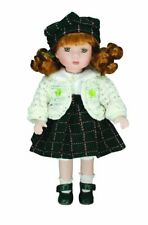 """Erin""  Irish Porcelain Doll With White Dress And Green Tartan Skirt 12"""