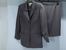 Casual Corner womens size 10 taupe suit with 3 button blazer and straight skirt
