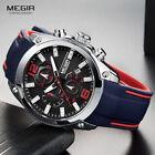 Megir Men's Chronograph Analog Quartz Watch Date Silicone Sport Man Wrists watch