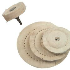 "POLISHING WHEEL KIT, 3 COTTON STITCHED WHEELS & ARBOUR 1/4"" SHAFT 50 75 100 MM"