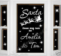 CHRISTMAS WINDOW STICKERS Santa Pease Stop Here STICKER  XMAS DECORATION  NS51