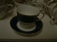 Six Wedgwood blue sapphire cups & saucers