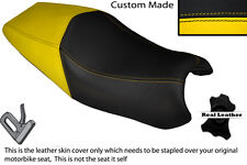 YELLOW  & BLACK CUSTOM FITS DUCATI ST3 DUAL REAL LEATHER SEAT COVER ONLY