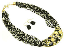 MULTI STRAND BLACK WHITE GLASS SEED BEAD GOLD TONE PENDANT NECKLACE EARRING