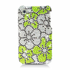 For iPhone 3G 3GS Dazzling Diamonds Green Silver Flowers Bling Cover Case