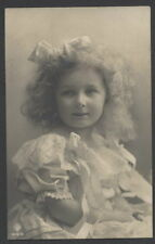 MA4921 VICTORIAN GIRL WITH BIG HAIR BOW IN CURLY HAIR , LACE DRESS RPPC 1910