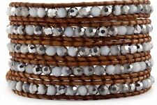 Chan Luu Silver White Crystal Agate Wrap Bracelet on Natural Brown Leather