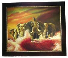 African Elephants Water Sunset Framed Canvas Oil Painting Signed 60 x 70 cm