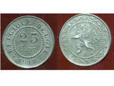 BELGIQUE 25 centimes 1918  zinc