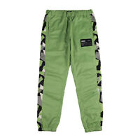 Men's Casual Streetwear Side Geometric Stripe Green Logo Windbreaker Jogger Pant