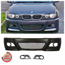 BMW E46 M3 STYLE FRONT BUMPER W/ MESH W/ HM FOG LIGHTS COVERS FOR 99-05 SEDAN