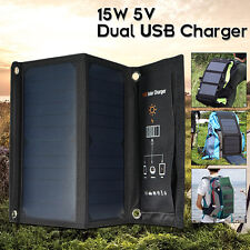 15W 5V Folding Solar Panel Dual USB Power Pank Battery Charger For Smartphone