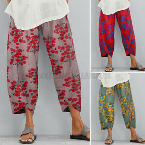 ZANZEA Women Summer Floral Trousers Loose  Baggy Cropped Vintage Retro Pants NEW