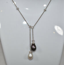 Black & White Pearl Lariat and Diamonds by the Yard Necklace in 18K White Gold