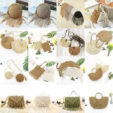 170f77060aa6 Straw Bag Rattan Woven Round Handbag Knitted Messenger Crossbody Beach Bali  Tote
