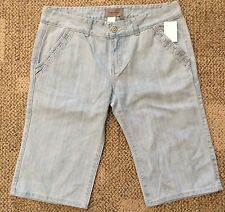 TEX by Max Azria Womens Size 29 10 Light Blue Cotton Jean Bermuda Shorts 1185721